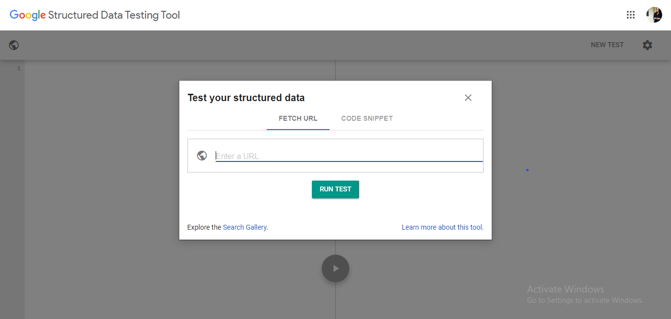 Structured Data Test Tool Screenshot
