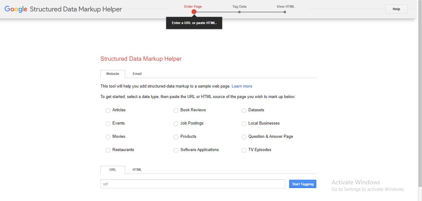 Structured data markup helper Screenshot