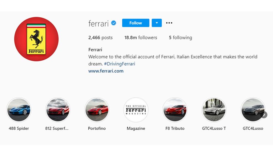 Ferrari Instagram bio