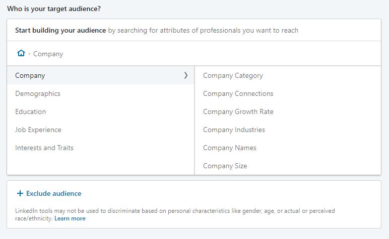 Screenshot of LinkedIn's new targeting options
